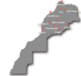 Hotels map in Morocco